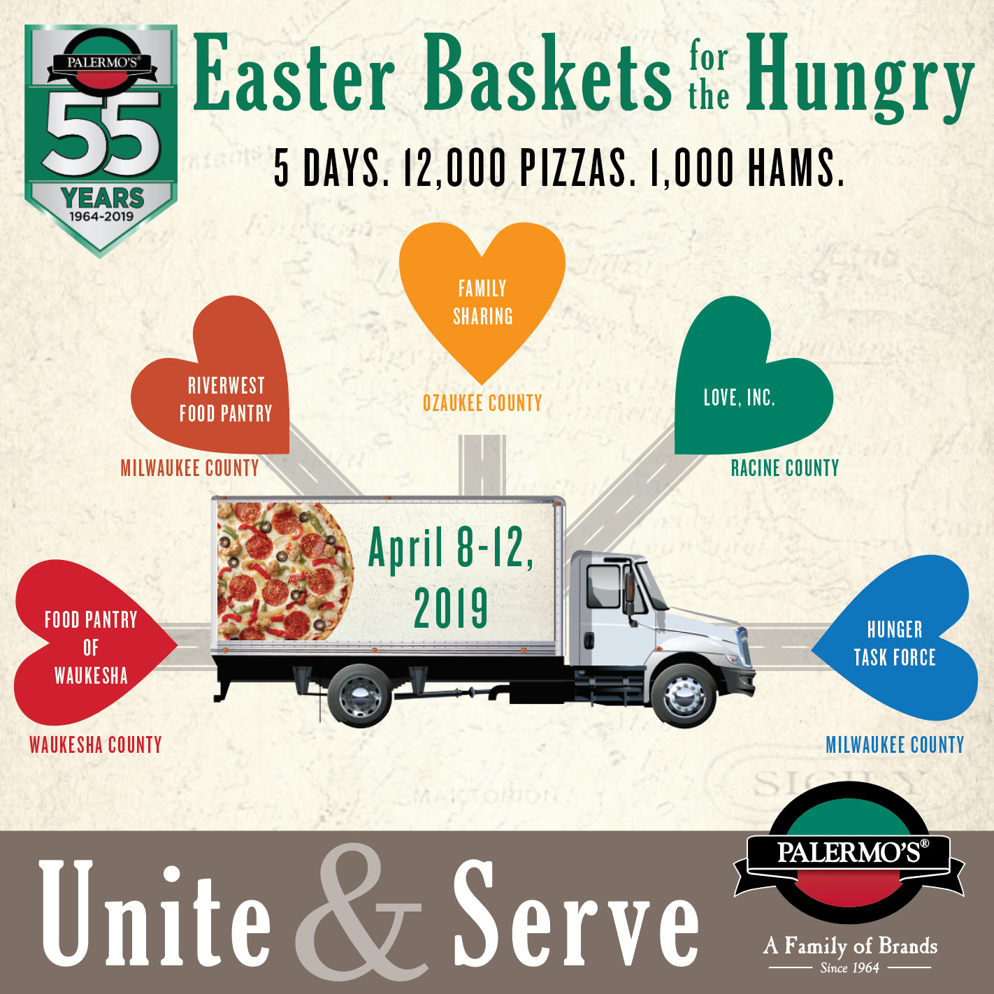 PALERMO'S PIZZA TO HOLD 12TH ANNUAL EASTER BASKETS FOR THE HUNGRY FOOD DISTRIBUTION
